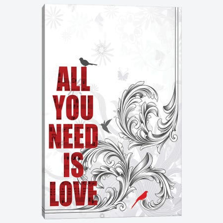 All You Need Is Love Poster Art Canvas Print #WAM92} by WordsAndMusicArt Canvas Artwork