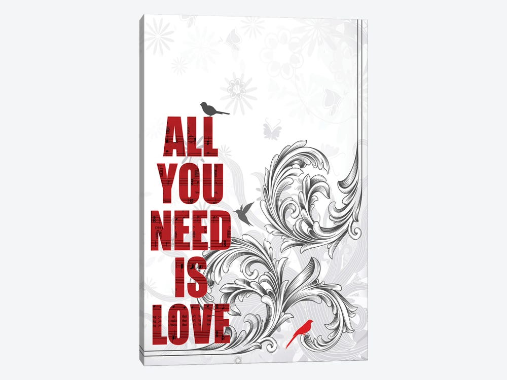 All You Need Is Love Poster Art by WordsAndMusicArt 1-piece Canvas Artwork