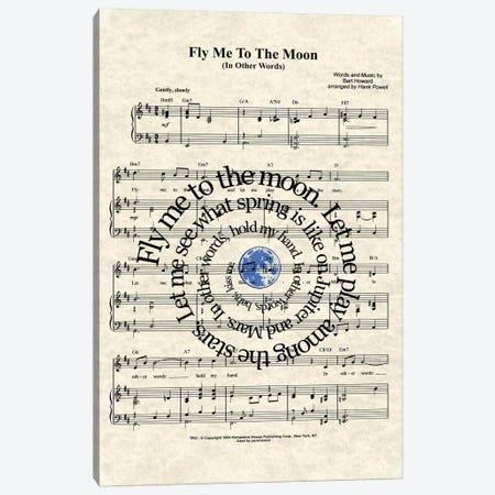 Fly Me To The Moon Canvas Print #WAM9} by WordsAndMusicArt Art Print