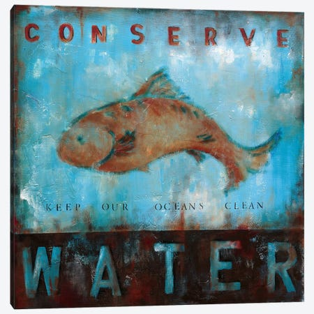 Conserve Water Canvas Print #WAN10} by Wani Pasion Canvas Art Print