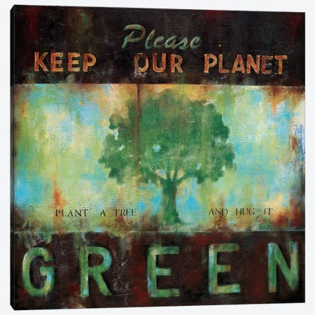 Green Planet Canvas Print #WAN34} by Wani Pasion Canvas Artwork