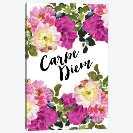 Carpe Diem Floral Canvas Print #WAO10} by Willow & Olive Canvas Artwork