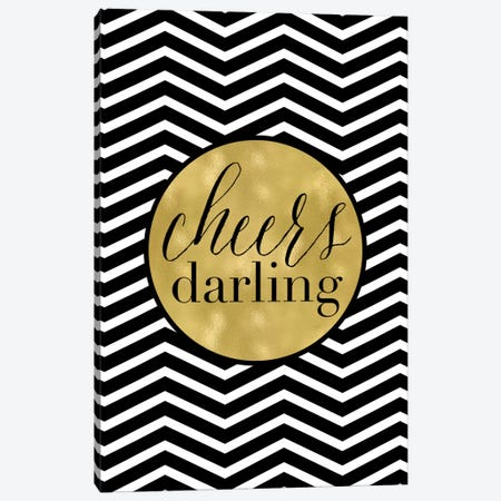 Cheers Darling Chevron Canvas Print #WAO11} by Willow & Olive Canvas Artwork