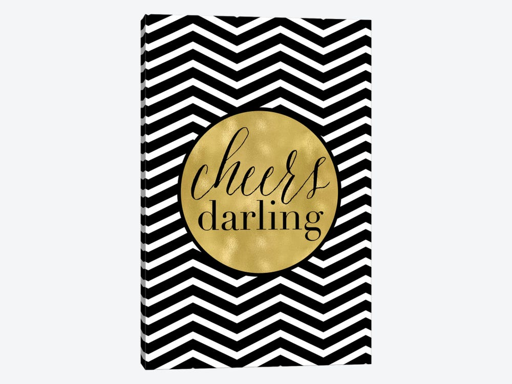 Cheers Darling Chevron by Willow & Olive 1-piece Canvas Artwork