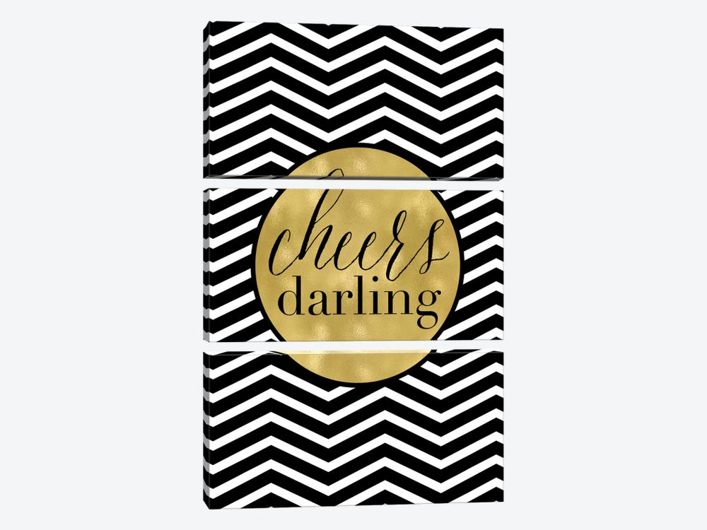 Cheers Darling Chevron by Willow & Olive 3-piece Canvas Art