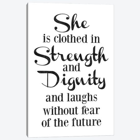She Is Strength Dignity Black Canvas Print #WAO127} by Willow & Olive Canvas Wall Art
