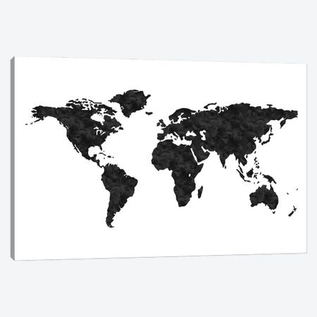 World Map Black Canvas Print #WAO136} by Willow & Olive Canvas Art Print