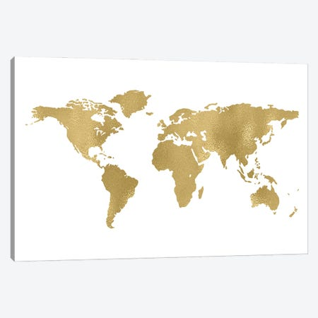 World Map Gold Canvas Print #WAO137} by Willow & Olive Art Print
