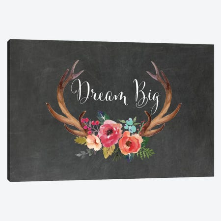 Dream Big Antlers Canvas Print #WAO13} by Willow & Olive by Amy Brinkman Canvas Wall Art