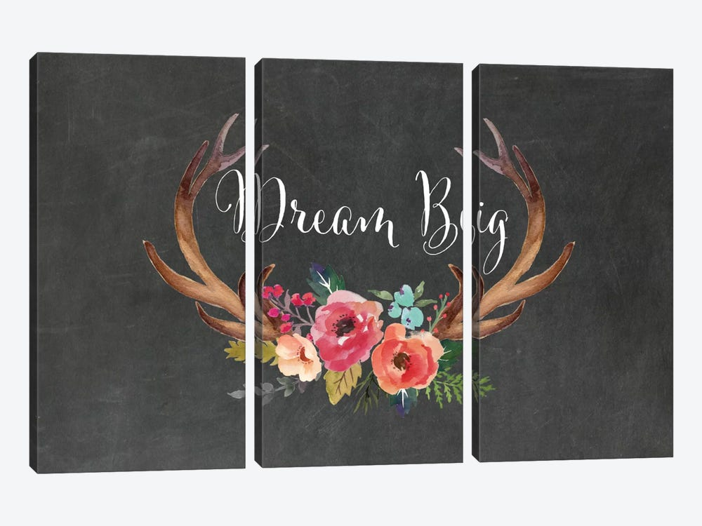 Dream Big Antlers by Willow & Olive by Amy Brinkman 3-piece Canvas Art