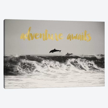 Adventure Awaits Gold Canvas Print #WAO1} by Willow & Olive Art Print