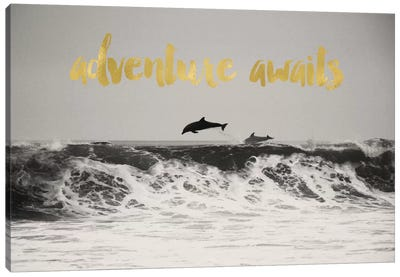 Adventure Awaits Gold Canvas Art Print