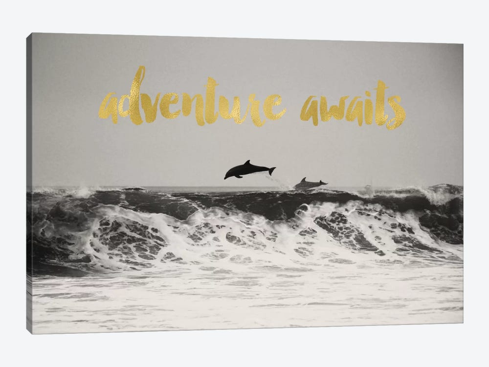Adventure Awaits Gold by Willow & Olive by Amy Brinkman 1-piece Canvas Artwork