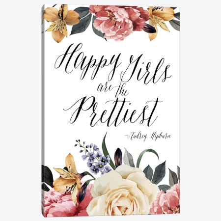 Happy Girls Are Prettiest - Audrey Hepburn Canvas Print #WAO20} by Willow & Olive Canvas Print