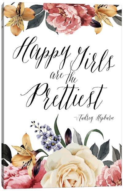 Happy Girls Are Prettiest - Audrey Hepburn Canvas Art Print