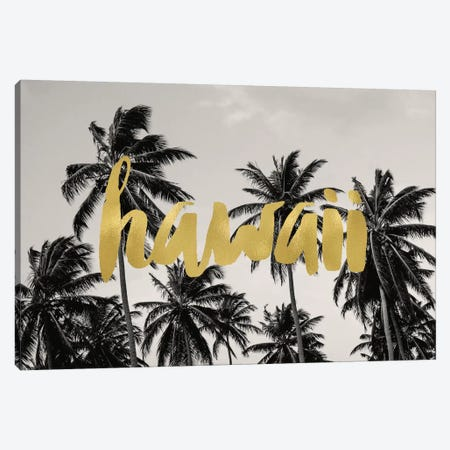 Hawaii Palms Gold Canvas Print #WAO21} by Willow & Olive Canvas Print