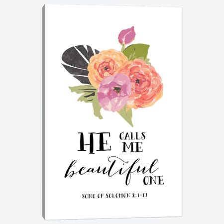 He Calls Me Beautiful One - Song Of Solomon 2:1-17 Canvas Print #WAO22} by Willow & Olive Canvas Art Print