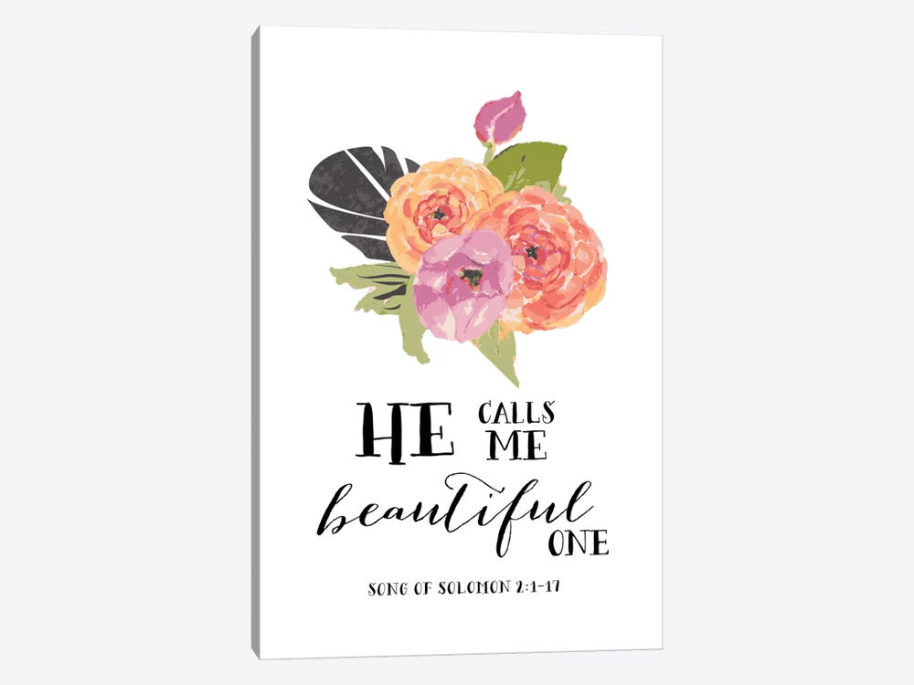 He Calls Me Beautiful One - Song Of Solomon 2:1-17 by Willow & Olive by Amy Brinkman 1-piece Canvas Artwork