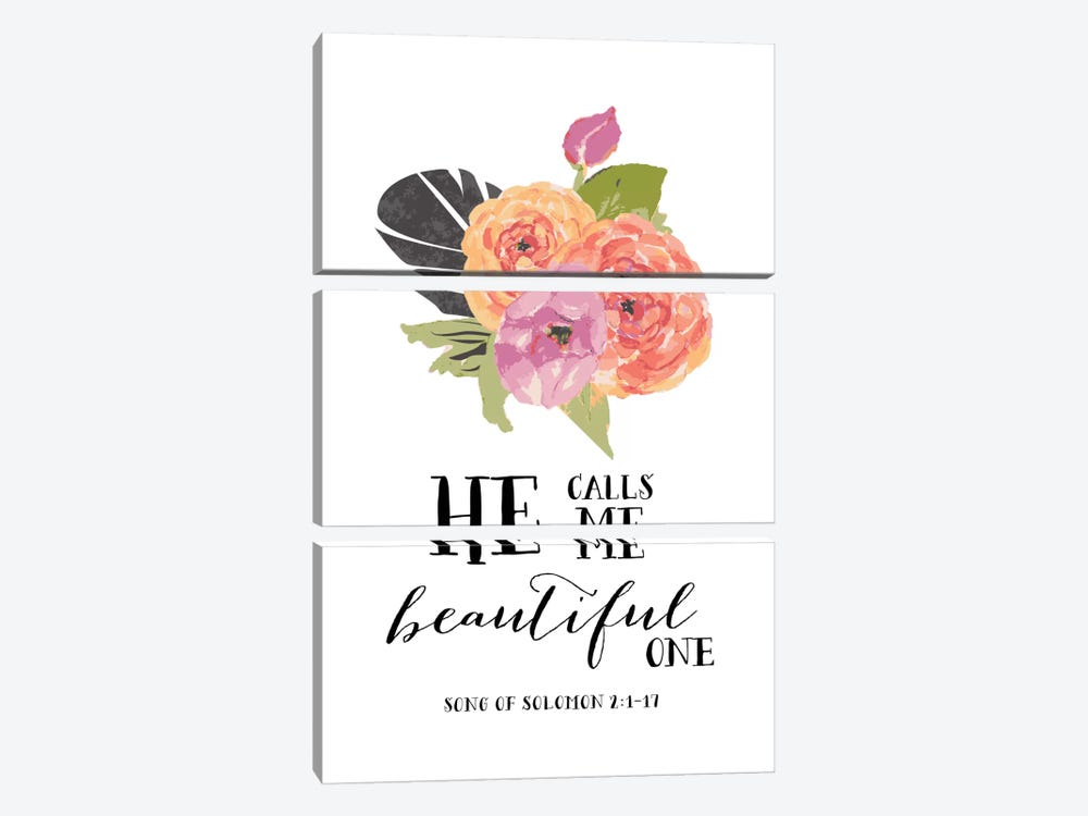 He Calls Me Beautiful One - Song Of Solomon 2:1-17 by Willow & Olive by Amy Brinkman 3-piece Canvas Artwork