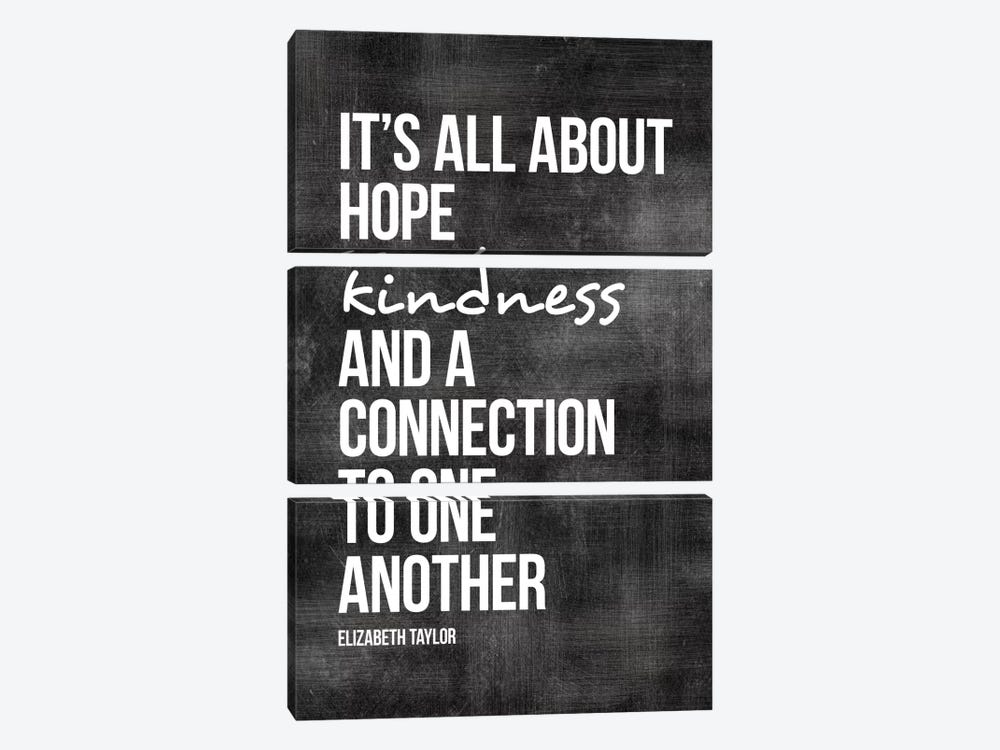 Hope, Kindness, Connection - Elizabeth Taylor 3-piece Canvas Wall Art