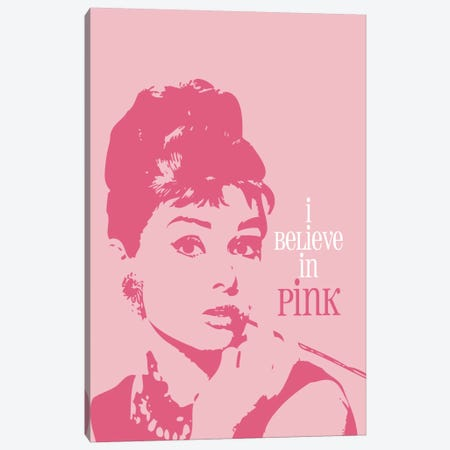 I Believe In Pink - Audrey Hepburn Canvas Print #WAO27} by Willow & Olive Canvas Artwork