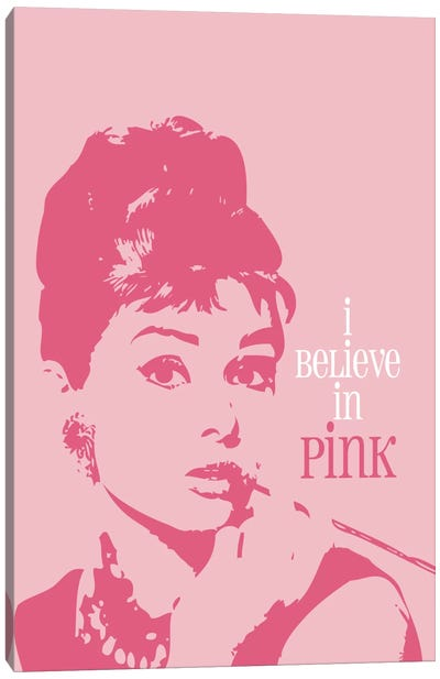 I Believe In Pink - Audrey Hepburn Canvas Art Print
