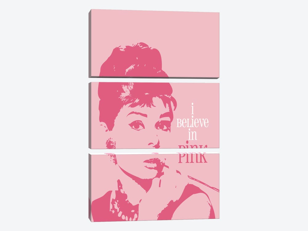 I Believe In Pink - Audrey Hepburn by Willow & Olive 3-piece Canvas Print
