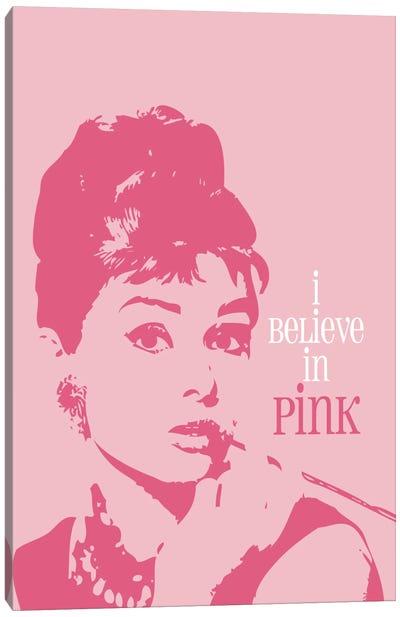 I Believe In Pink - Audrey Hepburn Canvas Art Print
