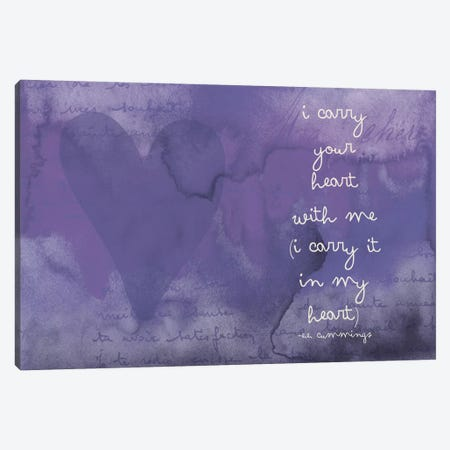I Carry Your Heart - Cummings, Eggplant Canvas Print #WAO28} by Willow & Olive by Amy Brinkman Canvas Print