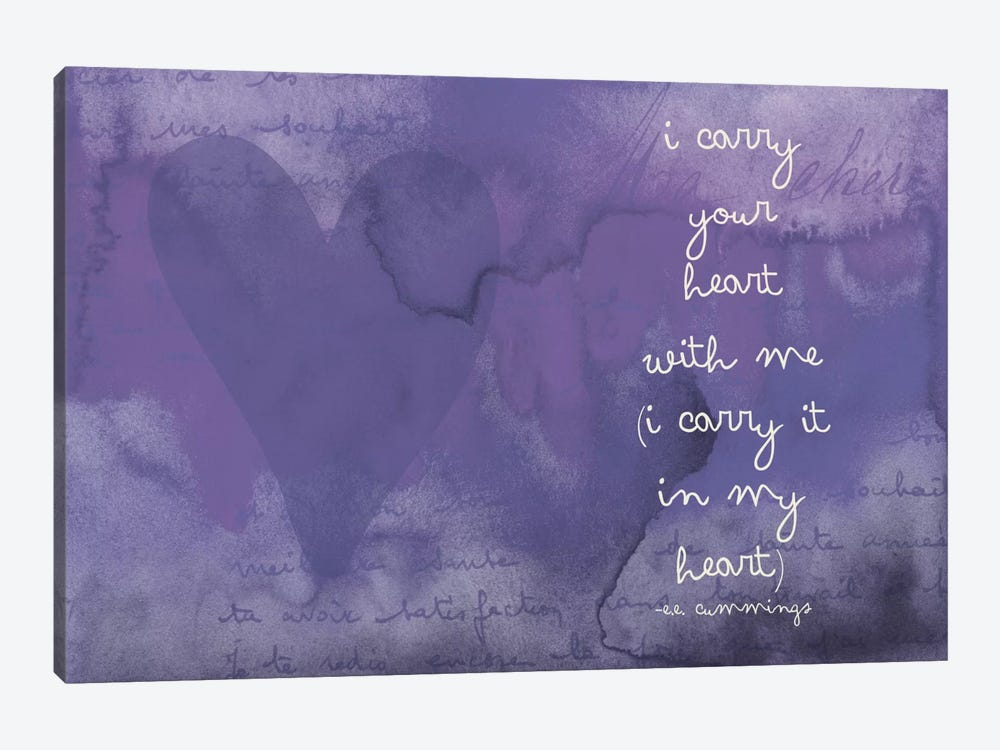 I Carry Your Heart - Cummings, Eggplant by Willow & Olive 1-piece Canvas Wall Art