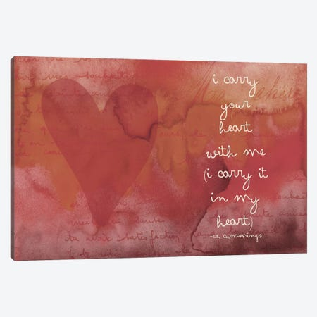 I Carry Your Heart - Cummings, Red Canvas Print #WAO29} by Willow & Olive Canvas Art Print
