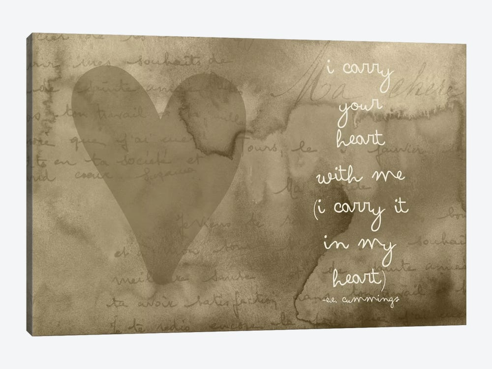 I Carry Your Heart - Cummings, Taupe by Willow & Olive by Amy Brinkman 1-piece Art Print