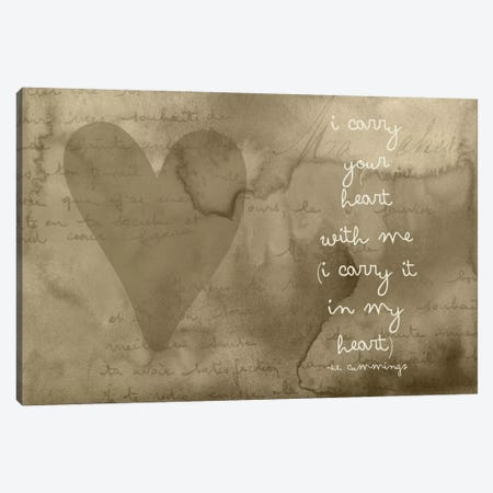 I Carry Your Heart - Cummings, Taupe Canvas Print #WAO30} by Willow & Olive Canvas Wall Art