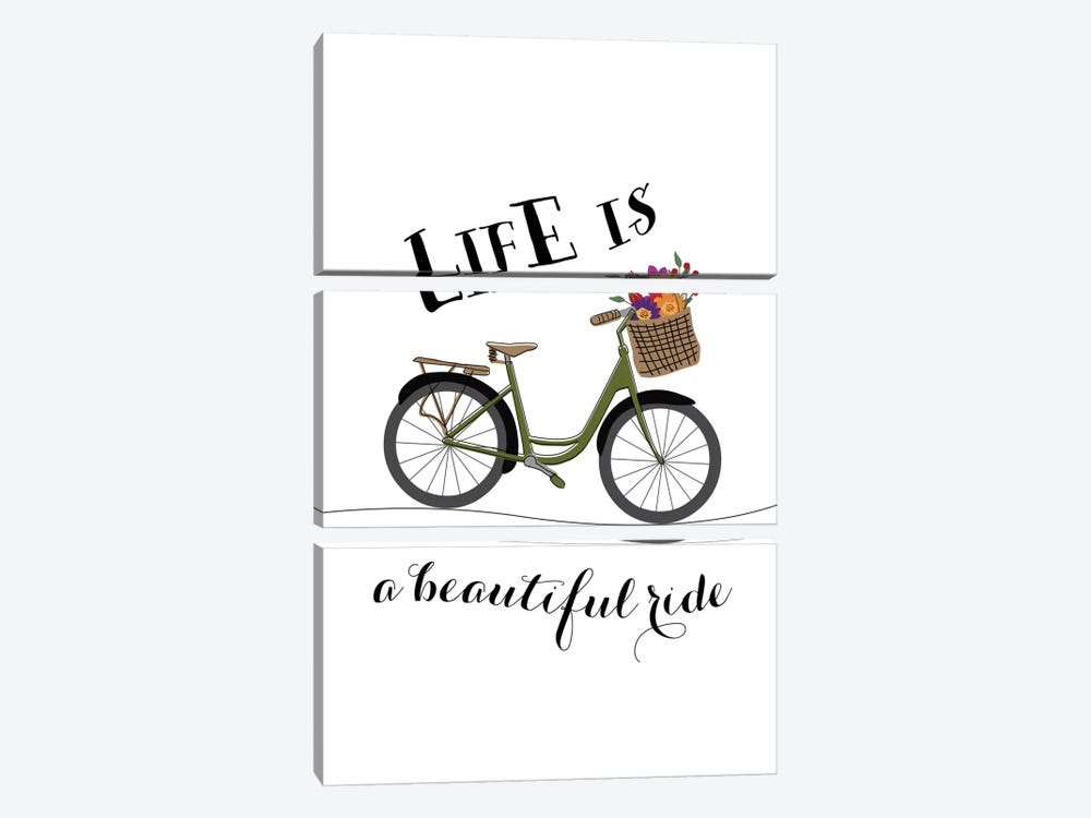Life Is A Beautiful Ride by Willow & Olive by Amy Brinkman 3-piece Canvas Print