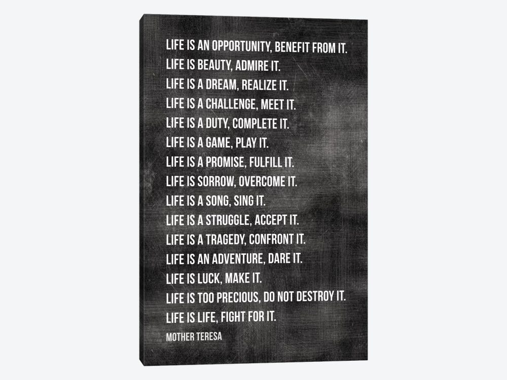 Life Is… - Mother Teresa by Willow & Olive 1-piece Canvas Art