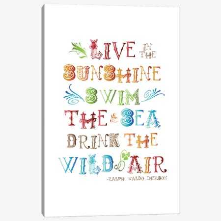 Live In The Sunshine Multi-color - Emerson Canvas Print #WAO39} by Willow & Olive Canvas Art