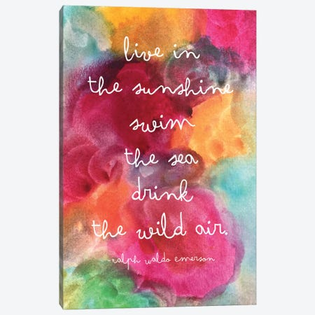 Live In The Sunshine Watercolor - Emerson Canvas Print #WAO40} by Willow & Olive Canvas Print