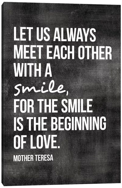 Meet With A Smile - Mother Teresa Canvas Art Print