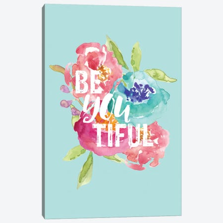BeYOUtiful Floral Canvas Print #WAO4} by Willow & Olive Canvas Artwork