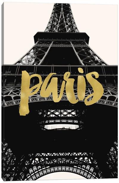 Paris Eiffel Tower Gold Canvas Art Print