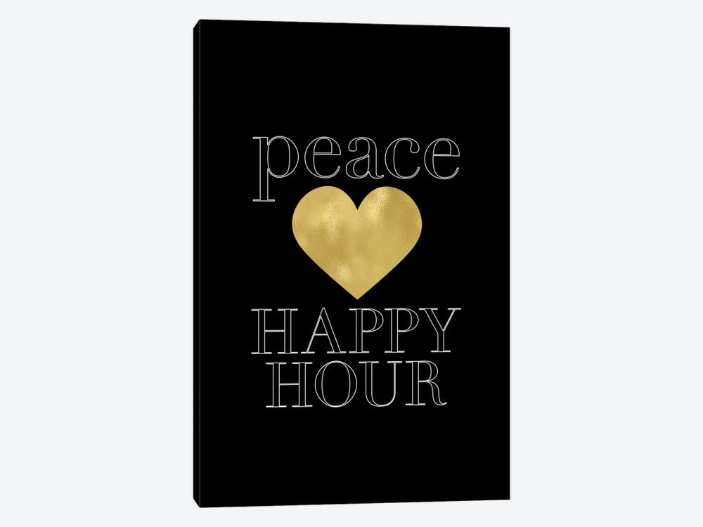 Peace Loves Happy Hour Gold by Willow & Olive by Amy Brinkman 1-piece Art Print