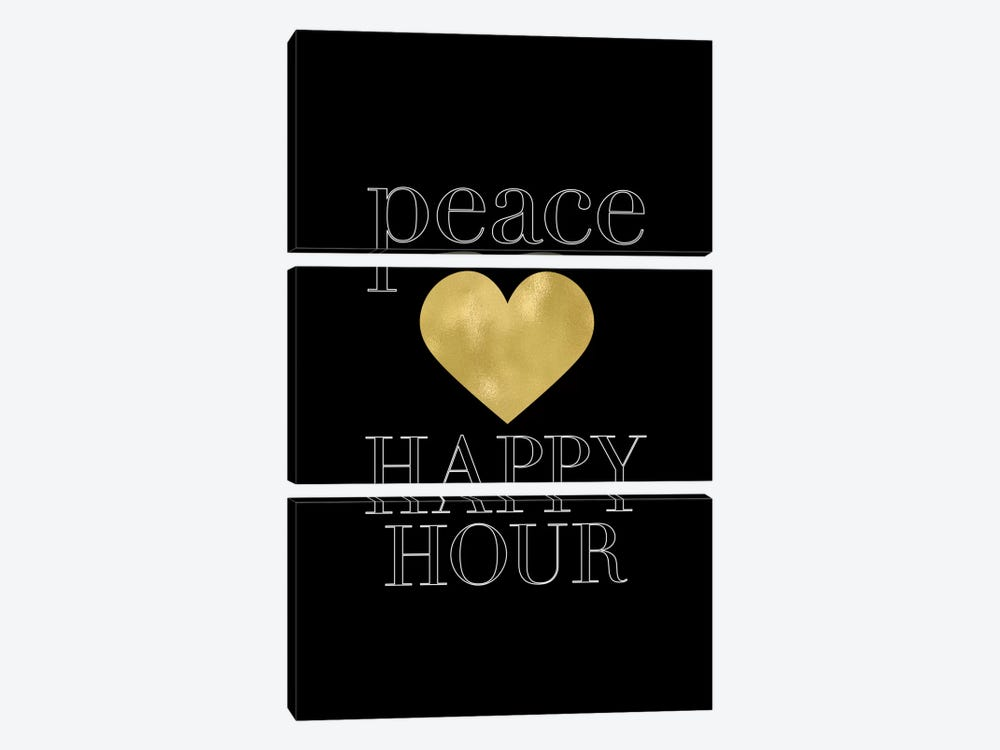 Peace Loves Happy Hour Gold by Willow & Olive by Amy Brinkman 3-piece Canvas Print