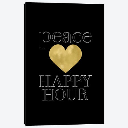 Peace Loves Happy Hour Gold Canvas Print #WAO52} by Willow & Olive Canvas Art