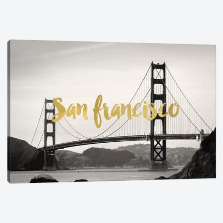 San Francisco Golden Gate Gold Canvas Print #WAO56} by Willow & Olive Art Print