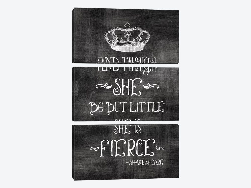 She Is Fierce With Crown - Shakespeare by Willow & Olive 3-piece Canvas Print