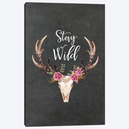 Stay Wild Antlers Canvas Print #WAO63} by Willow & Olive Canvas Print