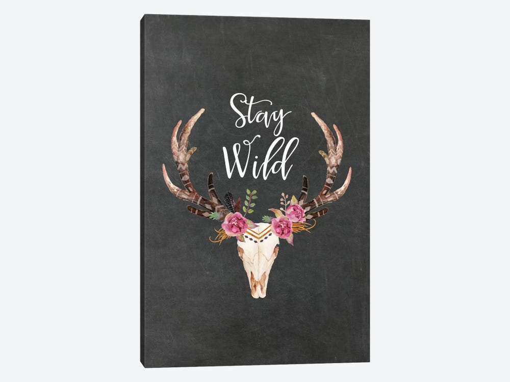 Stay Wild Antlers by Willow & Olive 1-piece Canvas Art Print