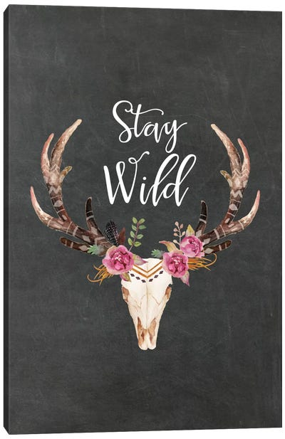 Stay Wild Antlers Canvas Art Print