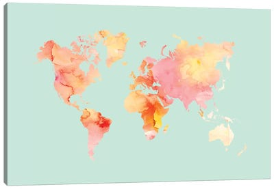 World Map Pastel Watercolor Canvas Art Print