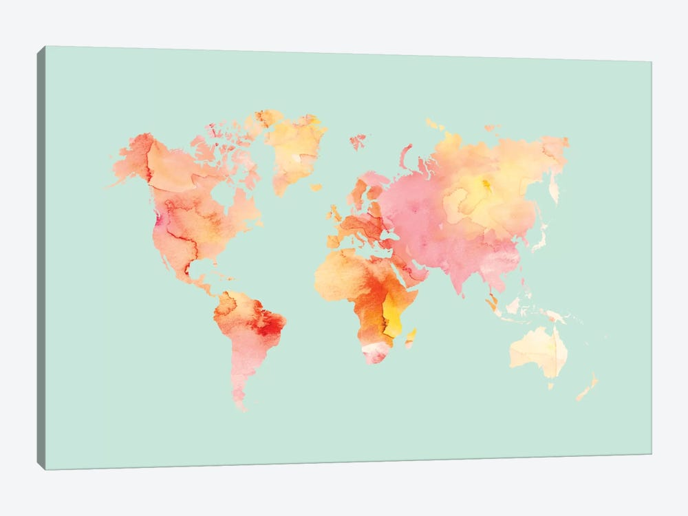World Map Pastel Watercolor by Willow & Olive by Amy Brinkman 1-piece Canvas Print